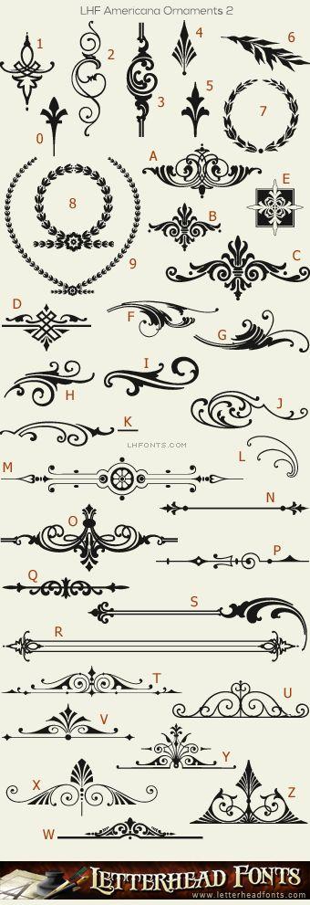 Letterhead Fonts / LHF Americana Ornaments font set / Decorative Ornaments