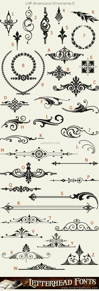 Letterhead Fonts / LHF Americana Ornaments font set / Decorative Ornaments