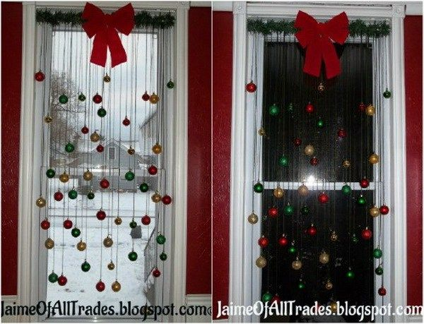 Window Decoration with Christmas Ball Ornaments. Another great way to put your old ball ornaments to good use! All you have to do then is hang them from your window and you've got yourself a quick and easy decoration.