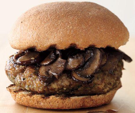Lentil Quinoa Burgers with Sauteed Mushrooms Photo by: Romulo Yanes         #recipe  #juliesoissons