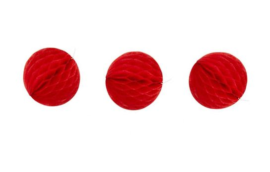THREE tiny red - honeycomb tissue balls from Poppies For Grace via The Third Row