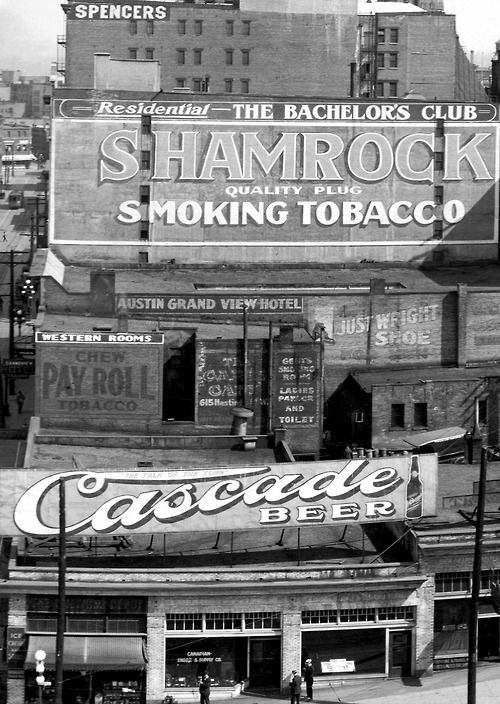 pasttensevancouver: Signs, Granville Street, Thursday 1 June 1916 Source: Photo by WJ Moore (detail), City of Vancouver Archives #PAN N227