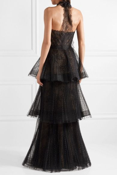 2cd84f71df93 Marchesa Notte - Tiered Point D'esprit And Lace Gown - Black Marchesa, Silk