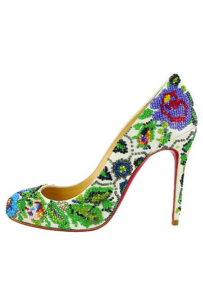 Christian Louboutin - Women's Shoes - 2013 Spring-SummerShoes, Beads Christian, Beads Heels, Beautiful High, Addict Beautiful, Louboutin Spring Summe, Women, 2013 Spring Summe, Floral