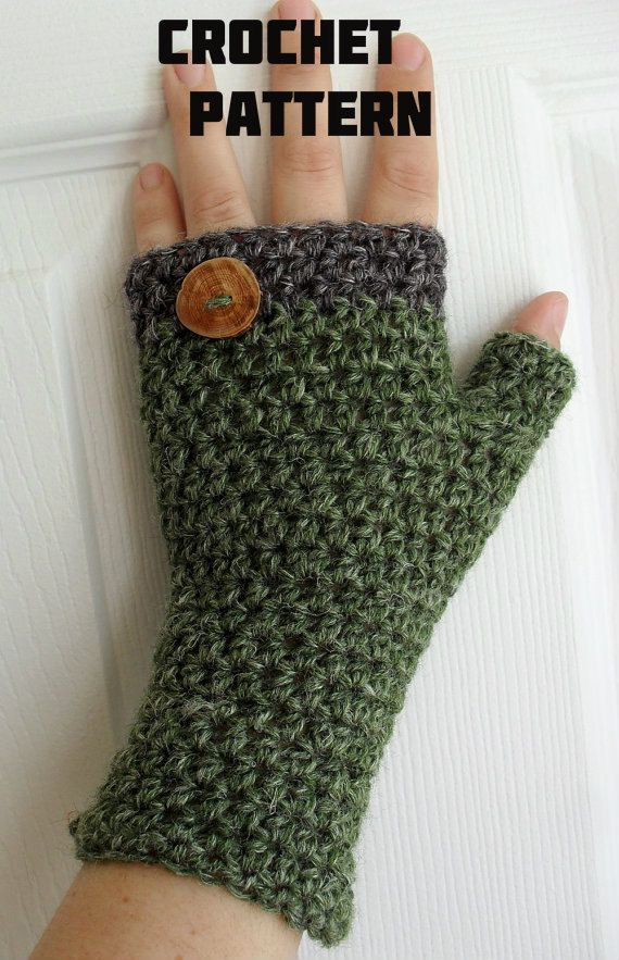 Crochet Pattern for HDC Fingerless Mitts with button band