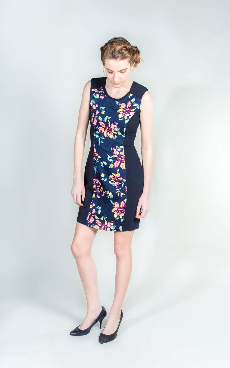 Navy Blue Panel Dress - simple and sophisticated  #Navy #Dress #PanelDress #WantHerDress