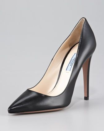 Capretto Leather Pointed-Toe Pump by Prada #Pump #Prada