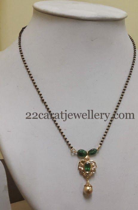 Black Beads Polki Set Jhumkas | Jewellery Designs