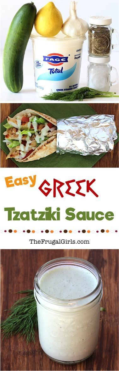 Greek Tzatziki Sauce Recipe! ~ fromGreek Tzatziki Sauce Recipe! ~ fromTheFrugalGirls~ this healthy sauce is so EASY to make and off the charts delicious... the perfect addition to your Chicken or Gyro Pitas!