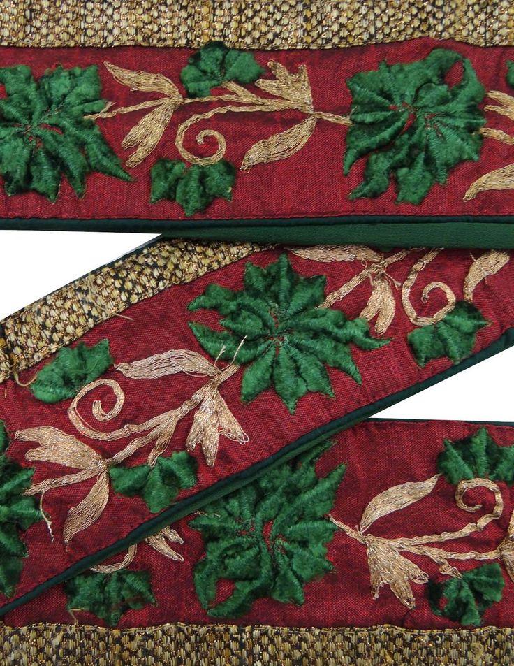 Weinlese -Sari Border Antique 1YD Gebrauchte gestickte indische Trim Red Ribbon in Möbel & Wohnen, Hobby & Künstlerbedarf, Nähen | eBay