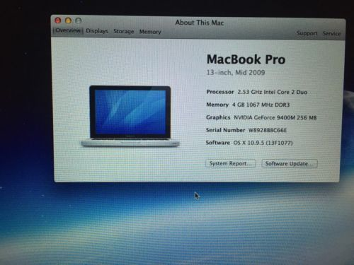 Apple MacBook Pro Mid-2009 500GB SATA Disk 4GB Memory 2.53GHz