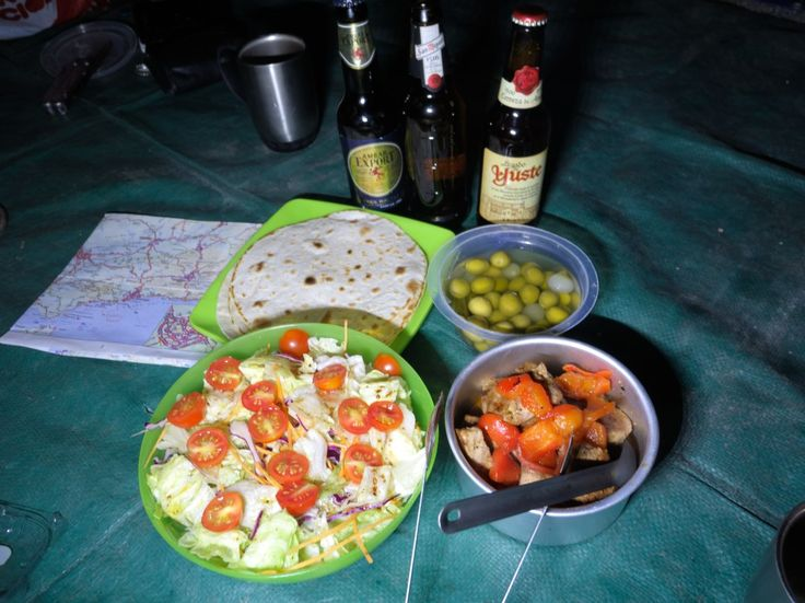 Tortillas with salads, Portuguese wine and beer. Real travel food and healthy.