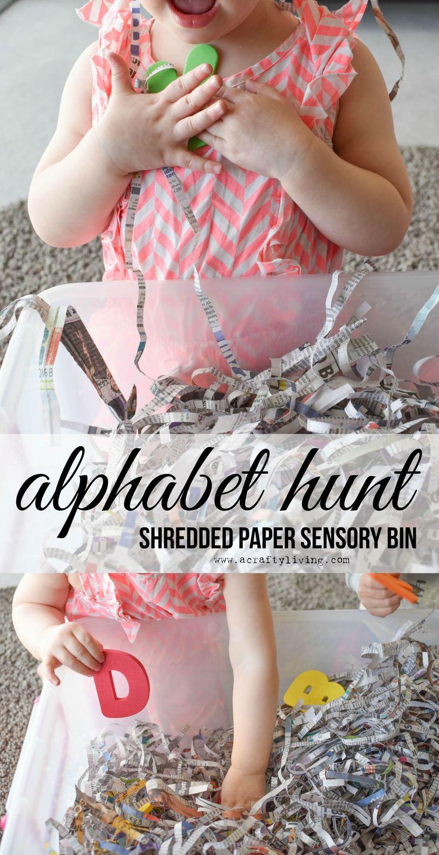 Shredded Paper Alphabet Hunt Sensory Bin for Toddlers & Preschoolers! www.acraftyliving.com