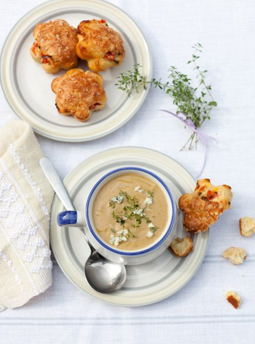 Creamy Roasted Eggplant Soup and Tomato, Cheese Muffins at Cooking ...