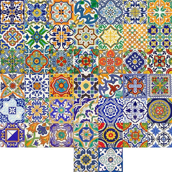 SPANISH TALAVERA TILE DECAL  The inspiration has taken from Azulejo ceramic artwork. O R D E R . P A C K . I N C L U D E S Quantity: 44 designs x 1 = 44