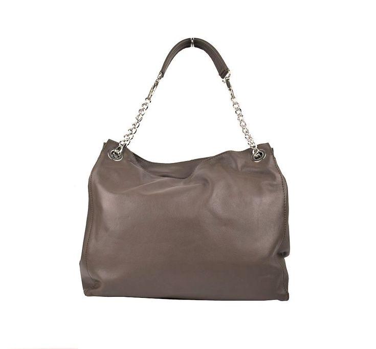 Kožená elegantná kabelka v hnedej farbe