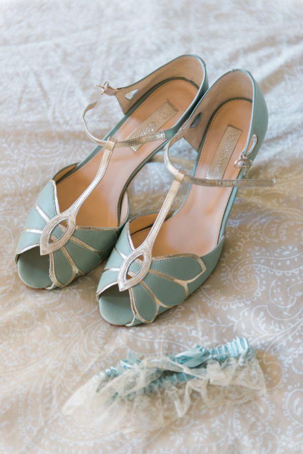 Make your 'Something Blue' a pair of vintage-inspired kitten heels: http://www.stylemepretty.com/california-weddings/del-mar-california/2015/08/09/romantic-diy-california-spring-wedding/ | Photography: Shelly Anderson - http://www.shellyandersonphotography.com/