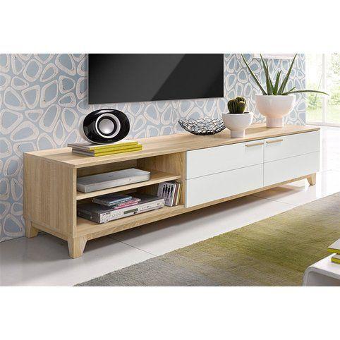 Meuble TV style scandinave 2 portes abattantes + 2 niches - Décor chêne brut / blanc- Vue 1