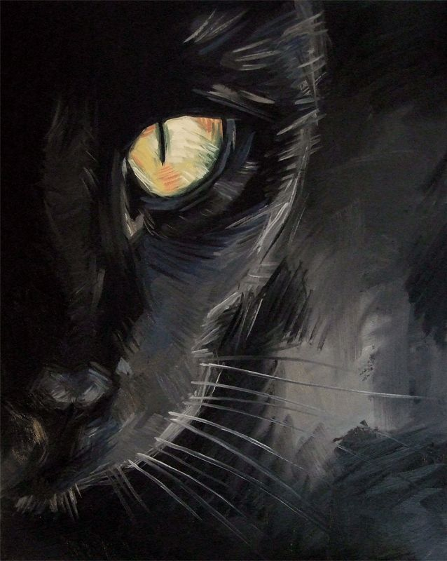 Paintings From the Parlor: Cat Painting - Black Cat Eye Closeup by Diane Irvine Armitage