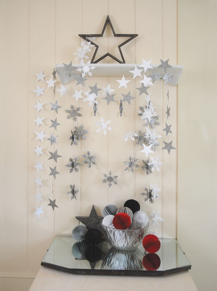 East of India white and silver star/snowflake garlands.