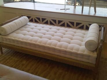 Carved Wood Frame Daybed with Mattress Driftwood Finish Only (Hamish) Shown with Raffia Upholstery Upholstery Options Available A-I 79.5