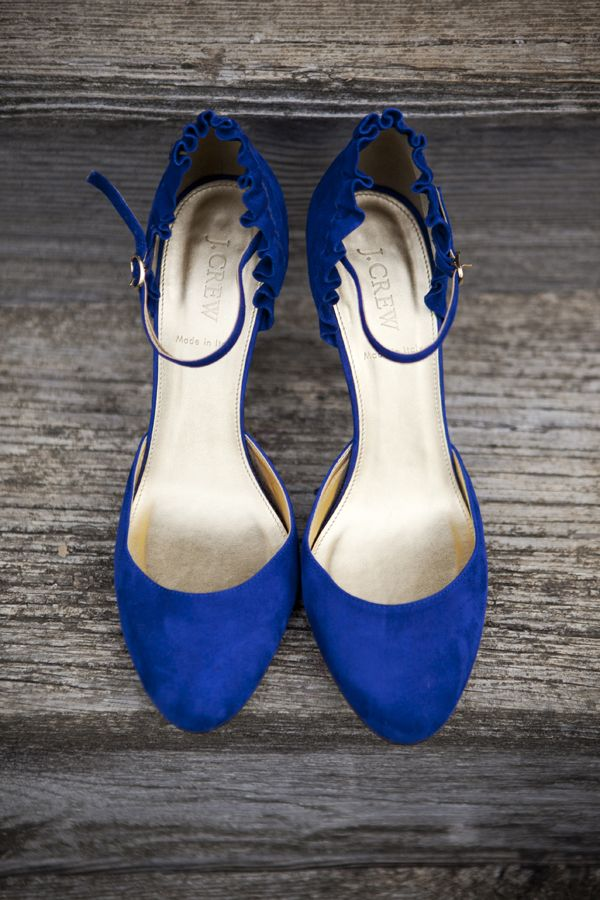 Wedding shoes! JCrew blue Charlie ruffled suede platform heels.  Image by Jodi + Kurt (J+K).