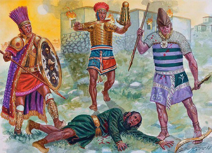 The fall of the Hittite Empire, c. 1200-1180 BC. Sea Peoples warriors surround a Hittite. ~ art by Giuseppe Rava