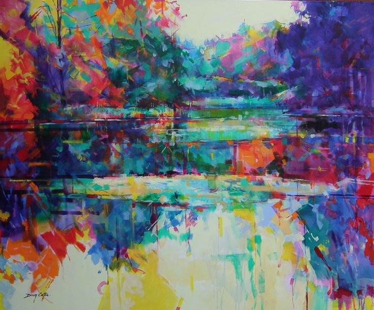 Doug Eaton semi abstract painting of Cannop Ponds on the Forest of Dean Ref: 014-001 Acrylic on canvas 120 x 100cm