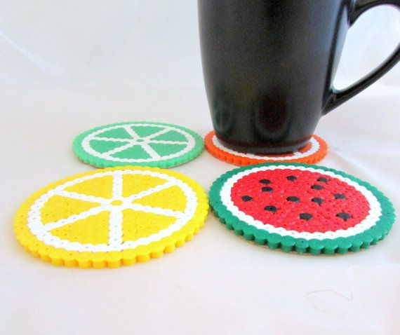 Fruit drinks coasters, pack of 4, lemon, orange, lime, watermelon. hama/perler beads, Bead art.