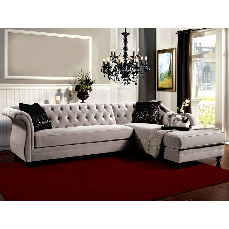 Furniture Of America Elegant Aristocrat Tufted Grey Sectional   Overstock™  Shopping   Big Discounts On Furniture Of America Sectional Sofas |  Pinterest ...