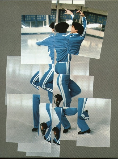 David Hockney 'Joiners' During the 1980's, David Hockney began taking photographs from multiple viewpoints then piecing them together. He was interested in how we see and depict space and time and how we turn a 3 dimensional world into a 2 dimensional image.  'Ice skater' for the 1984 Olympics