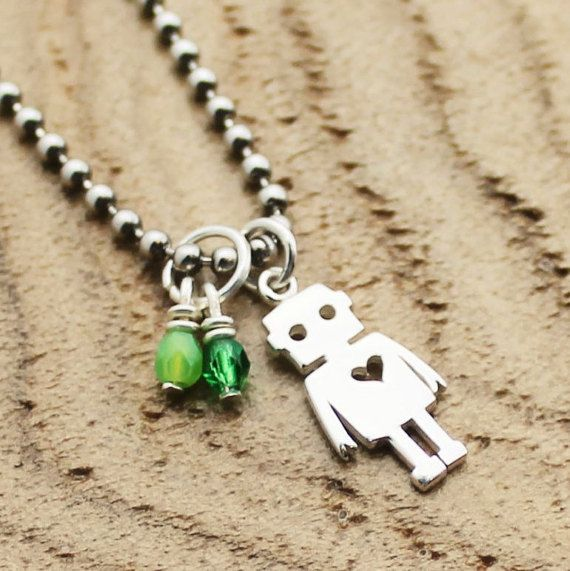 Robot Love Necklace Birthstone Necklace by RootedInLoveCustom