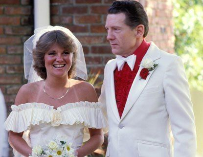 Jerry Lee Lewis and his fifth wife Shawn Michelle Stephens, on their wedding day - June 7, 1983. Their marriage lasted 77 days, from June to August 22, 1983, ending with her death from an overdose of methadone.