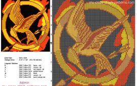 Los juegos del hambre libro pelicula logo patron punto de cruz 90 x 98 7 colores DMC