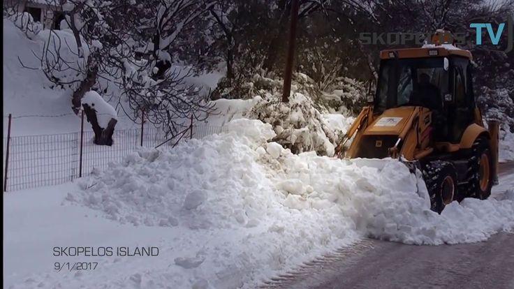 Σκόπελος: Ένα μέτρο χιόνι μετά από 30 χρόνια 9/1/2017