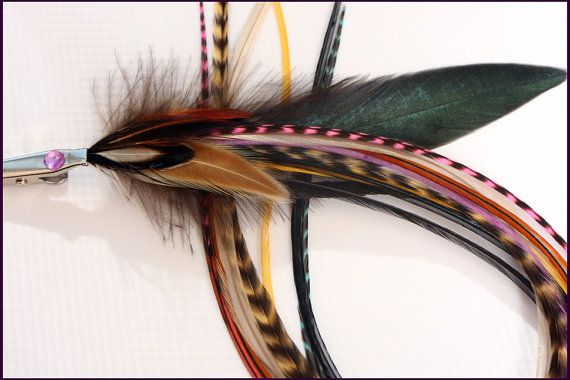 Bohemian Feather Clip On Extension Bundle Exotic Feathers Embellishment Decorative Hair Extension Clip On Accessory