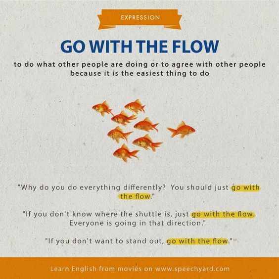 Go with the flow = do/agree what people do for the easiest way