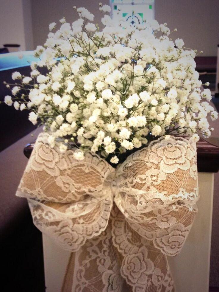 Pretty baby 39 s breath burlap lace bow pew decor wedding - Bow decorations for weddings ...