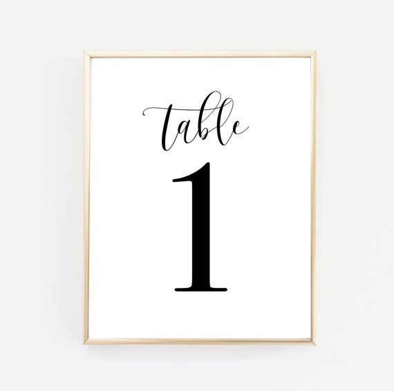 Wedding table numbers 1-10 - DIY Printable for 5 x 7 frame - black and white calligraphy collection