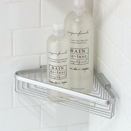 modern shower caddies by KnobsandHardware. Adding a shelf after tile install can save on alot of tile cutting.
