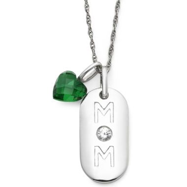 Simulated Emerald Heart & Sterling Silver Mom Dog Tag Pendant Necklace  found at @JCPenney