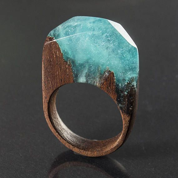 Teal fog  resin and mahogany ring