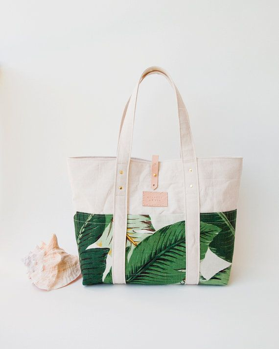 Tropical Canvas Beach Tote Martinique Beverly Hills Banana Leaf Swaying Palms