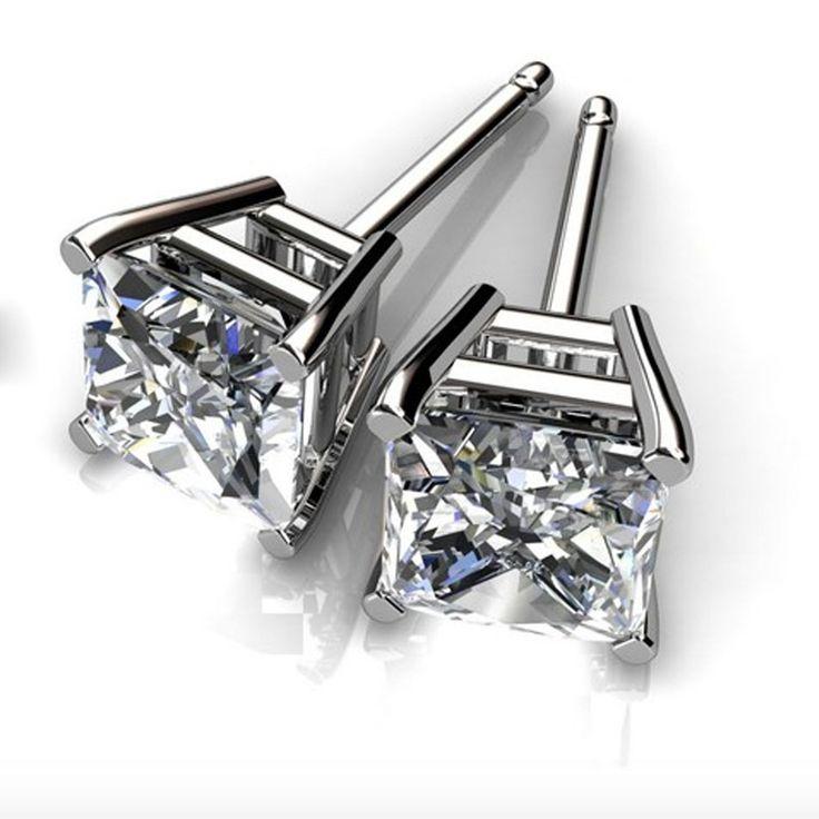 Princess Cut 1.00ct Diamond Earring 14K White Gold Stud For Women 1069 | eBay