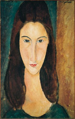 Amedeo Clemente Modigliani (1884-1920) Italian painter / sculptor who worked mainly in France. http://www.oilpaintingrepro.com/paintings/amedeo-modigliani-jeanne-hebuterne.html