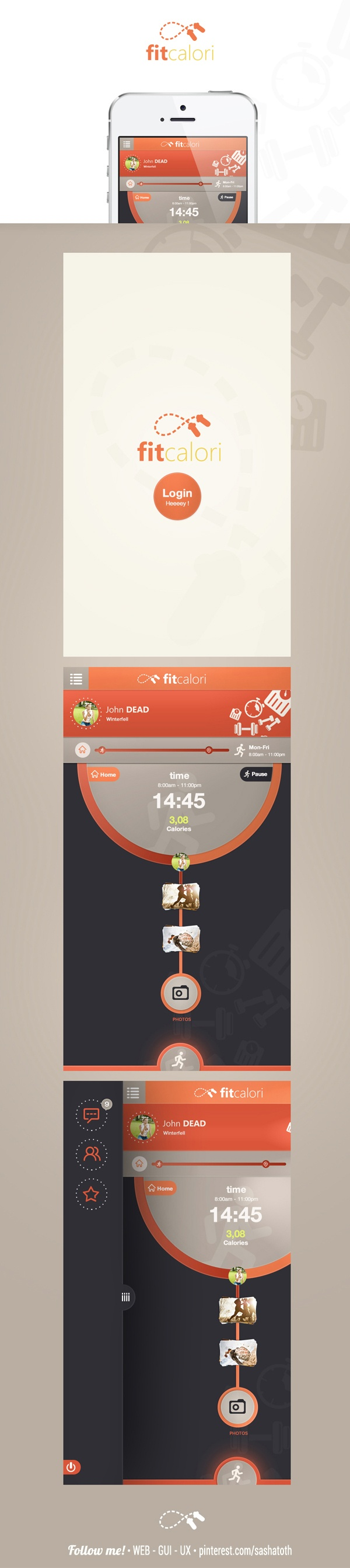 Fitcalori app concept by Cüneyt SEN, via Behance