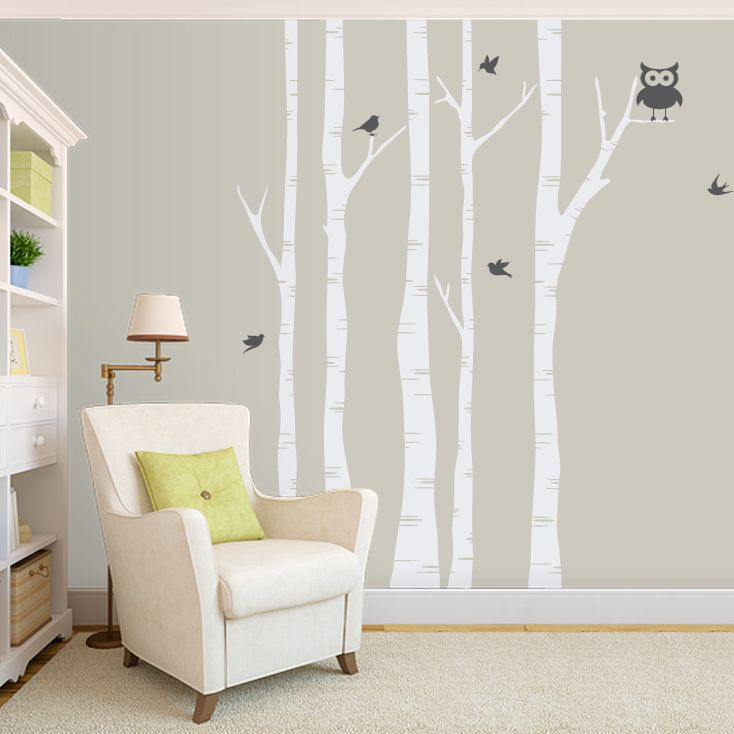 Birch Trees Wall Decal. From my new favorite website, Wallums.com! It's awesome b/c you can change the color of any wall decal you find and they have tons of color to choose from.