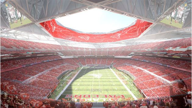 Really like the 360 degree Jumbotron incorporated into the proposed design of the Atlanta Falcons stadium concept by 360 Architecture