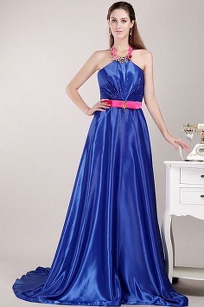 A-Line Strapless Satin Evening Dress ted1753 - SILHOUETTE: A-Line; FABRIC: Satin; EMBELLISHMENTS: Crystal , Sequin; LENGTH: Sweep/Brush Train - Price: 141.6100 - Link: http://www.theeveningdresses.com/a-line-strapless-satin-evening-dress-ted1753.html
