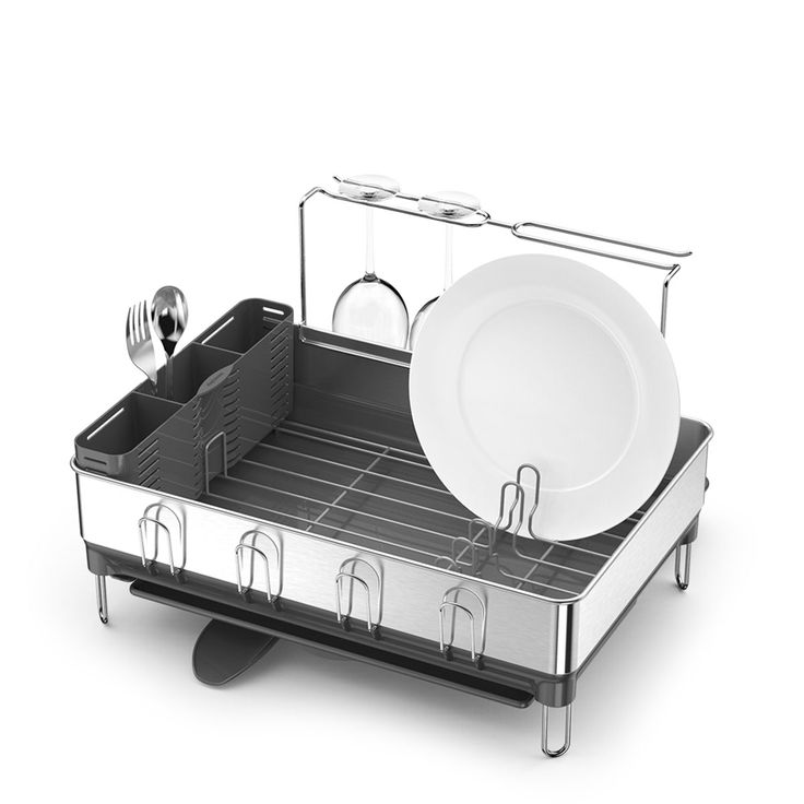 Simplehuman Dish Racks Have An Innovative Drainage System That Keeps Water Flowing Into The Sink